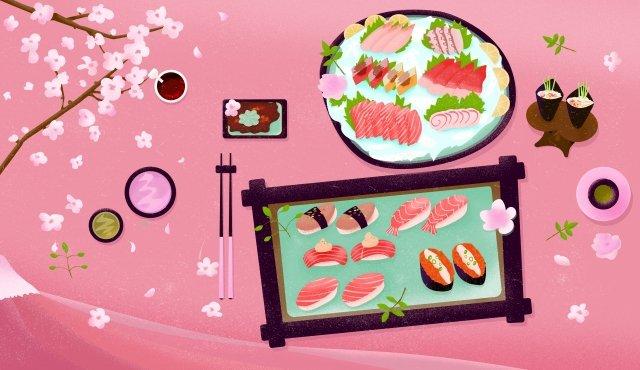 food japanese cuisine sushi cherry blossoms, Sashimi, Pink, Volcanic illustration image