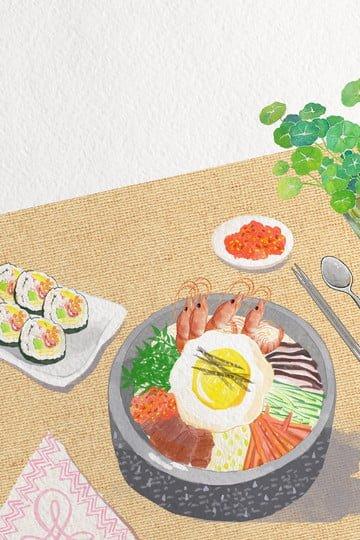 食品韓国料理ビビンバ海苔食事 イラスト素材 イラスト画像