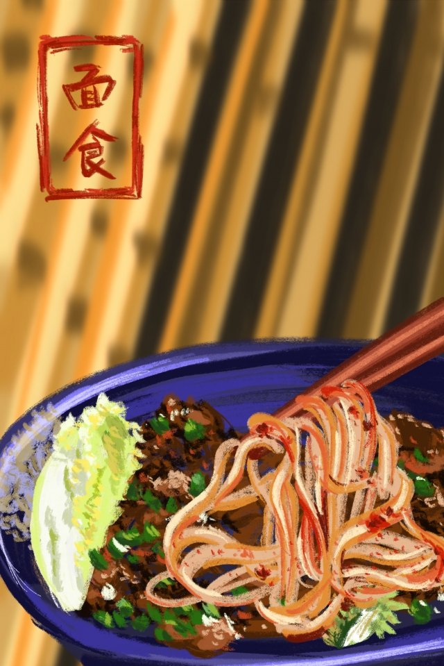 food pasta noodles chinese cabbage, Shallot, Meat, Hand Painted illustration image