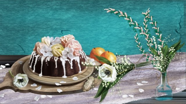 food realistic chocolate cake flowers, Flower Cake, Tray, Illustration illustration image