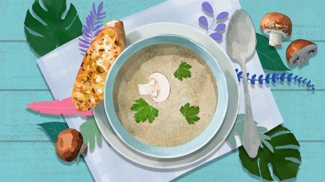 food soup western style soup mushroom soup llustration image illustration image