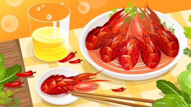 음식 매운 왕새우 따뜻한 색상 그림 이미지 일러스트레이션 이미지