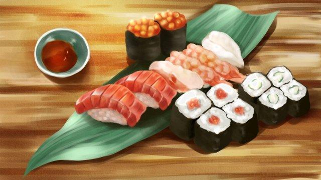 食品寿司蓮の葉魚の種 イラスト素材 イラスト画像