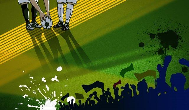 サッカーワールドカップ情熱応援 イラスト素材