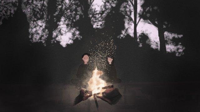 वन युगल अलाव रात चित्रण छवि