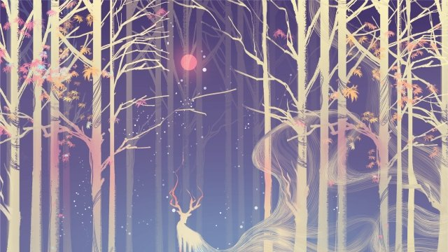 forest deer moon cool colors, Warm, Artistic Beauty, Maple Leaf illustration image