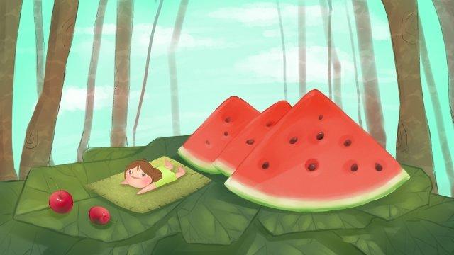 वन midsummer चित्रण तरबूज चित्रण छवि