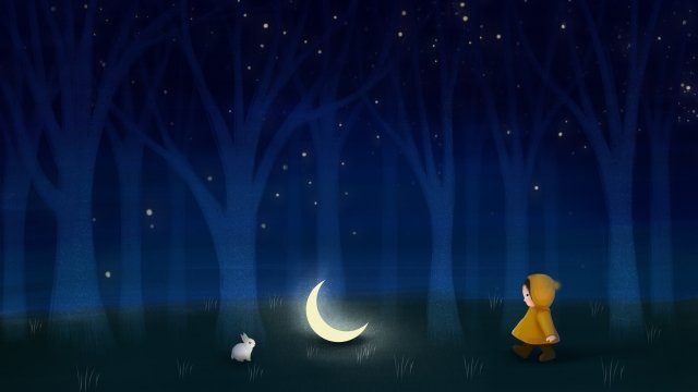 forest moon child illustration, Bunny, Hand Painted, Night Sky illustration image