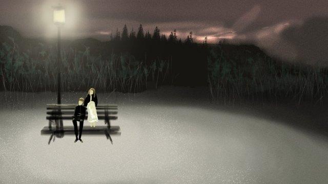 森林公園の夜のカップル イラストレーション画像 イラスト画像