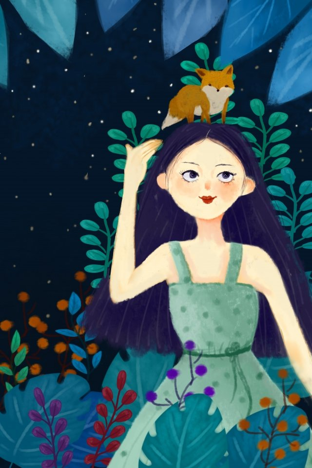 fox girl night starry sky, Tree, Grass, Flower illustration image