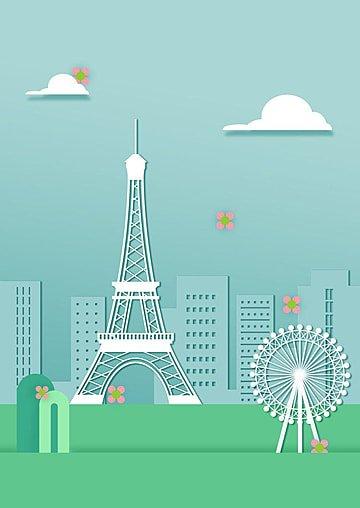 フランスエッフェル塔都市 イラスト画像