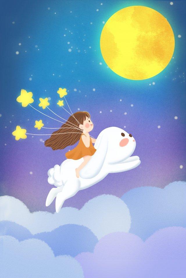 清新美麗的中秋節8月15日 插畫素材