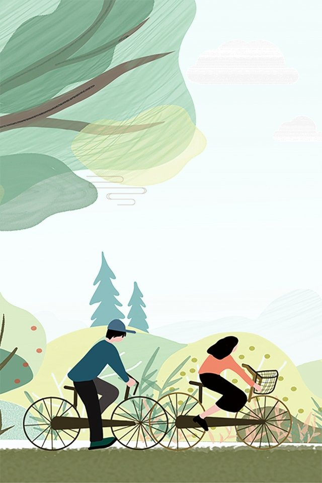 fresh cycling simple summer, Small Heat, Ad, Cycling illustration image