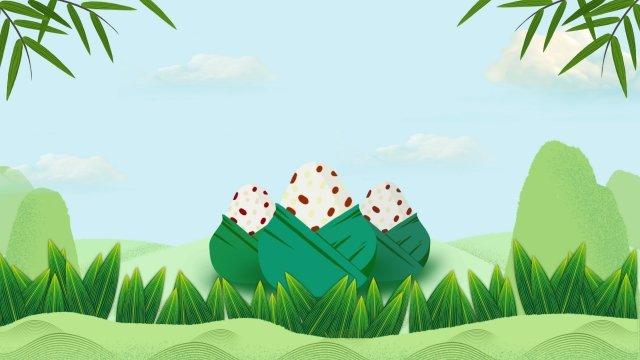 新鮮的綠色龍舟節粽子 插畫素材