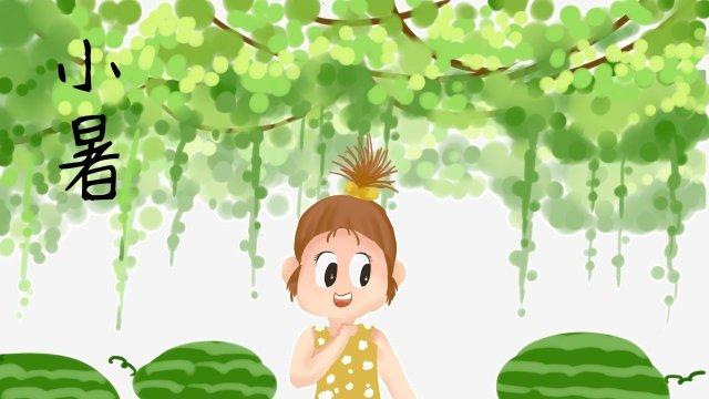新鮮的綠色西瓜小熱 插畫素材 插畫圖片
