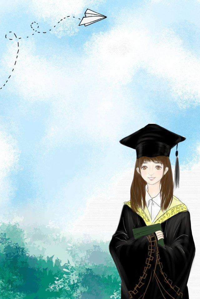 fresh hand painted leaf watercolor, Graduation Season, Paper Plane, Youth illustration image