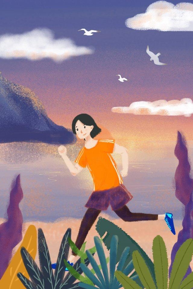 Garota de treino fresco à beira mar Fresco À beira mar Exercício Menina Flores Pôr doFresco  À  Beira PNG E PSD illustration image