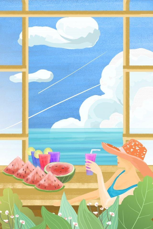 新鮮的夏季大熱節氣 插畫素材