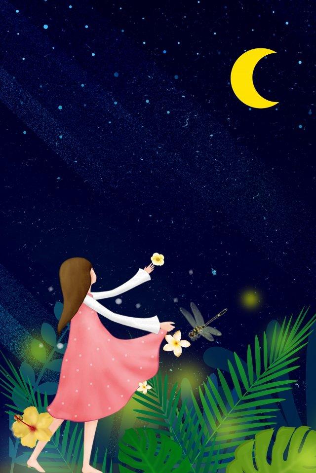 fresh teenage girl background night sky, Starry Sky, Moon, Girl illustration image