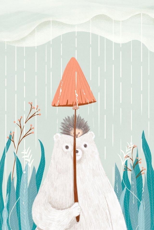 दोस्त पशु मशरूम छाता बारिश चित्रण छवि