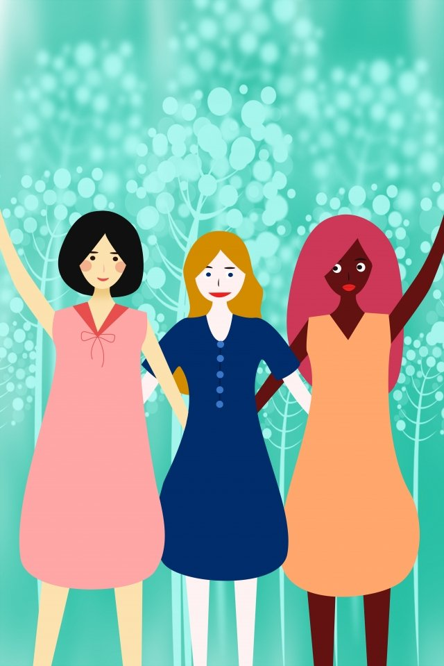friendship international friendship day girl different skin tone llustration image