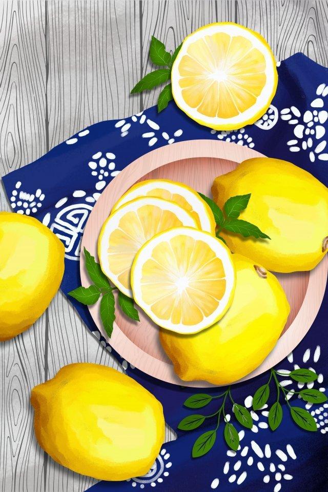 水果和蔬菜檸檬花布深藍色布 插畫素材 插畫圖片