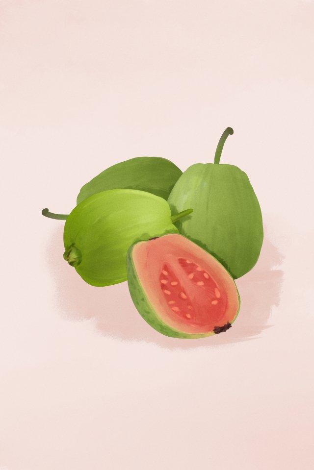 fruit bale guava red heart llustration image