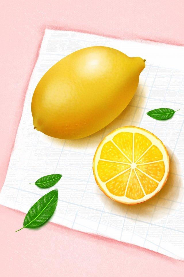 水果插圖檸檬手繪風格 插畫素材 插畫圖片