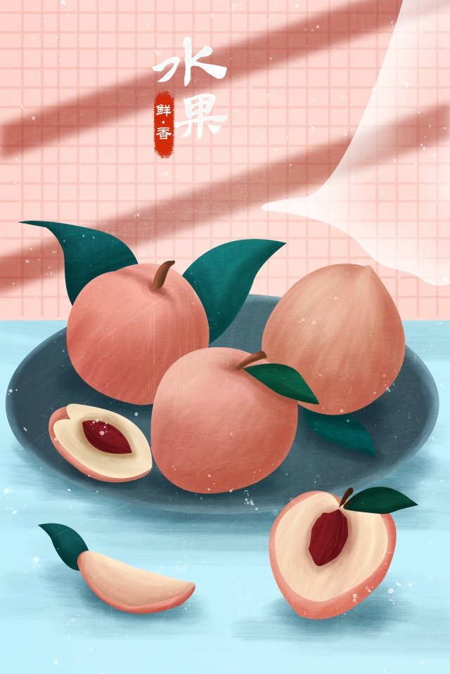 fruit illustration peach hand painted llustration image illustration image