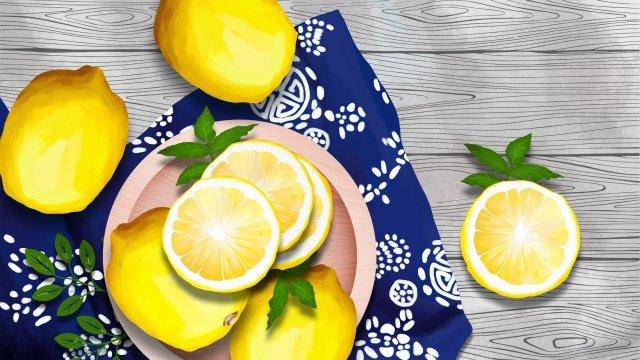 水果檸檬花布深藍色布 插畫素材