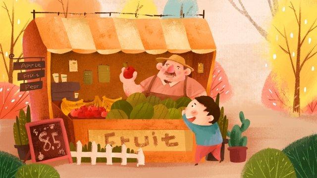 과일 가게 그림 아이처럼 삽화 소재