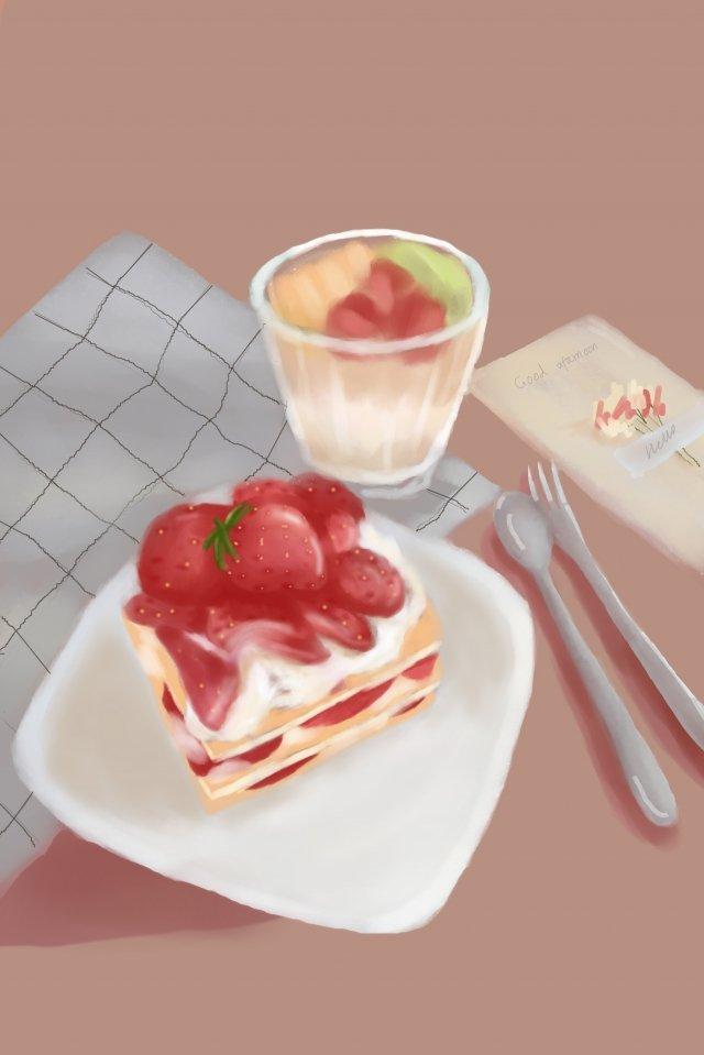 水果草莓蛋糕水果沙拉 插畫素材