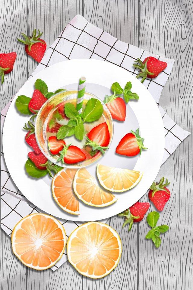 fruit strawberry orange fruit llustration image
