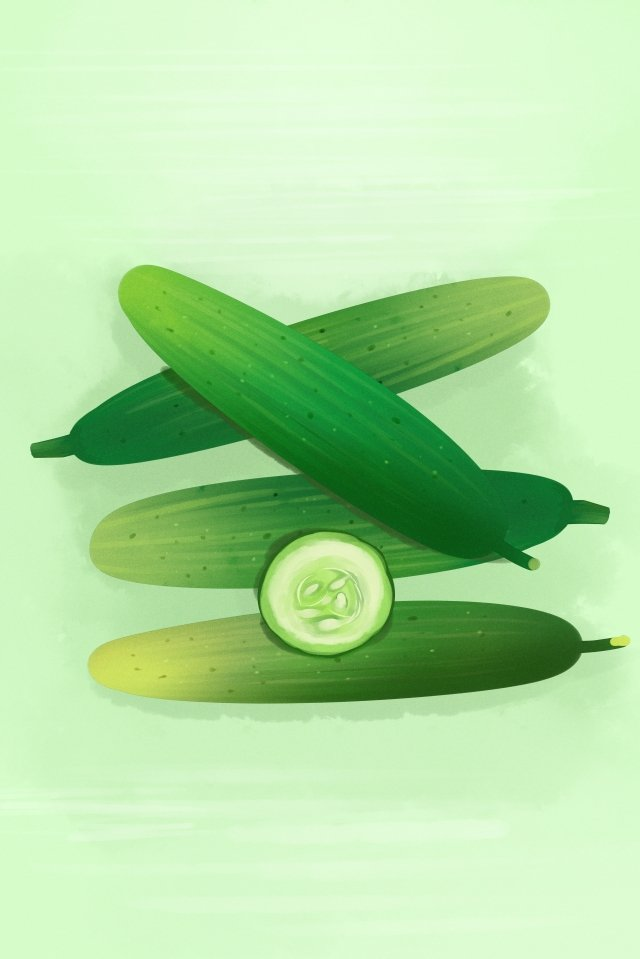 fruit vegetables cucumber green, Style, Fruit, Vegetables illustration image