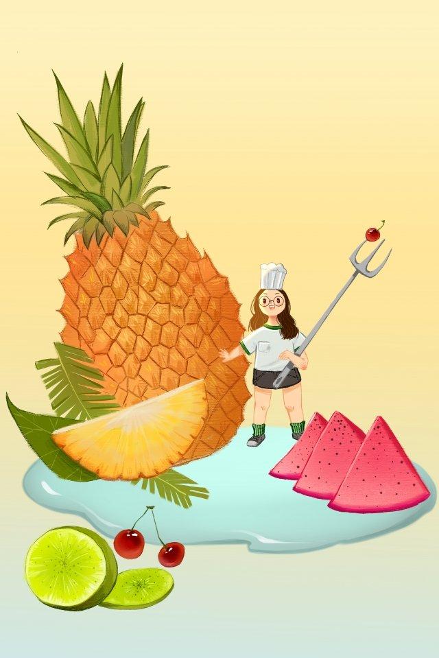 fruit vegetables fresh hand painted, Illustration, Pineapple, Kiwi illustration image