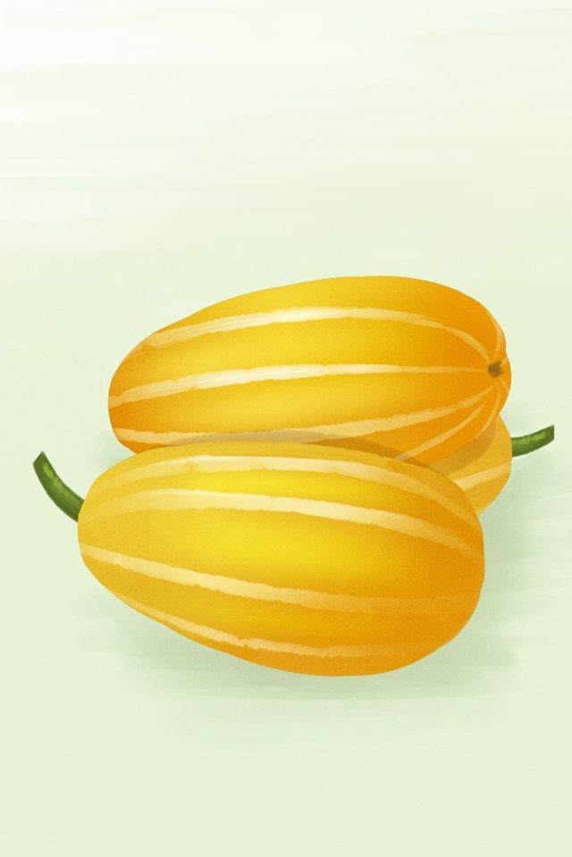 水果蔬菜瓜黃色 插畫素材 插畫圖片