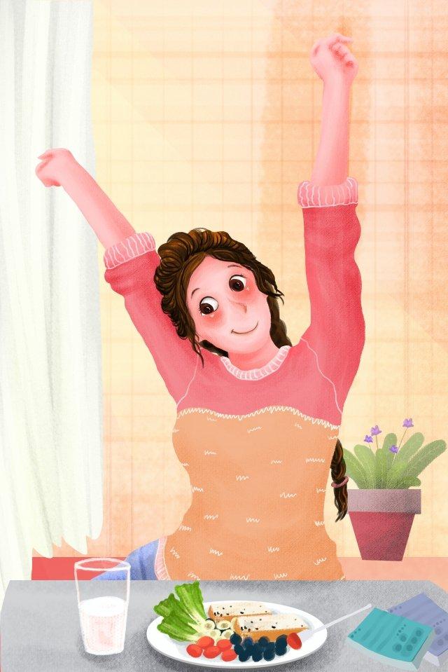 tràn đầy năng lượng cô gái tuổi teen cảnh buổi sáng tốt lành Hình minh họa