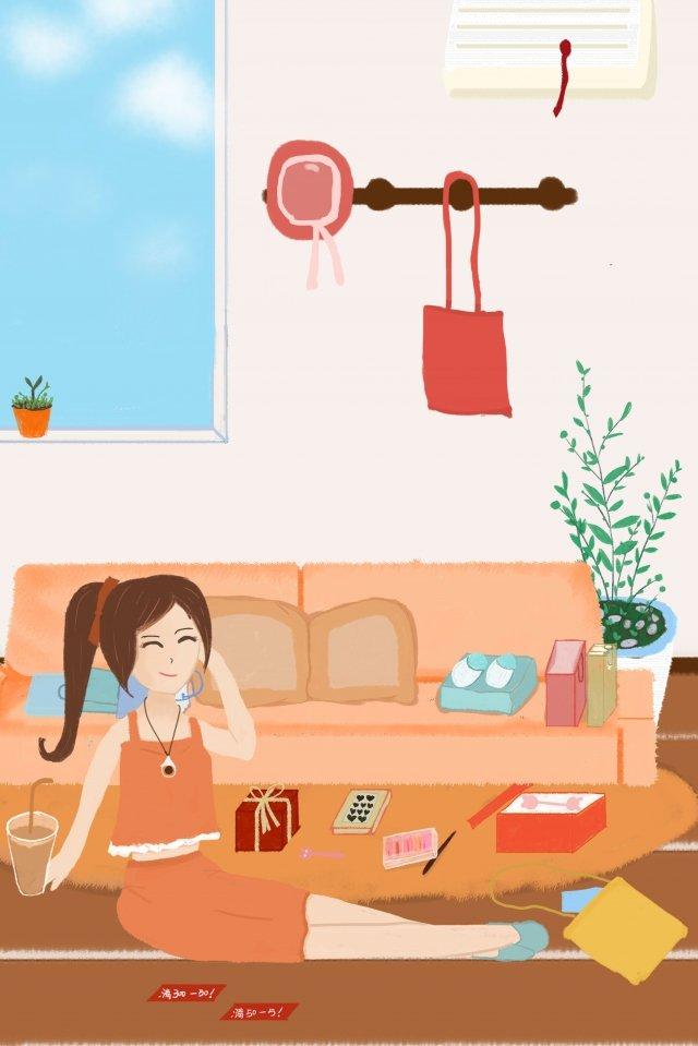 furniture home woman bag, Illustration, Happy, Shopping illustration image