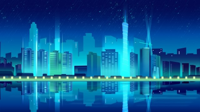 future technology intelligent city silhouette, Night City, Blue, Building illustration image