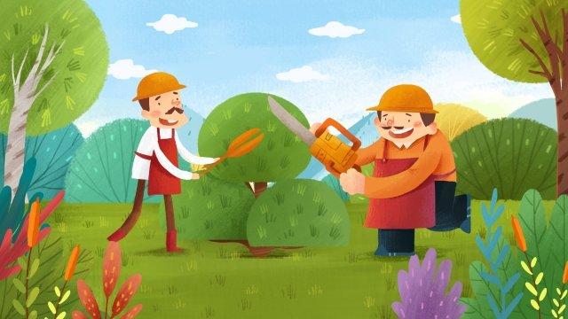 園藝工人工作場景圖 插畫素材 插畫圖片