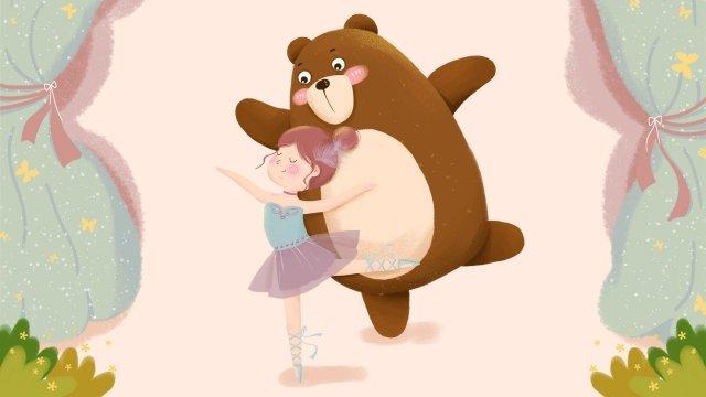 부드러운 소녀 곰 발레 커튼 삽화 소재