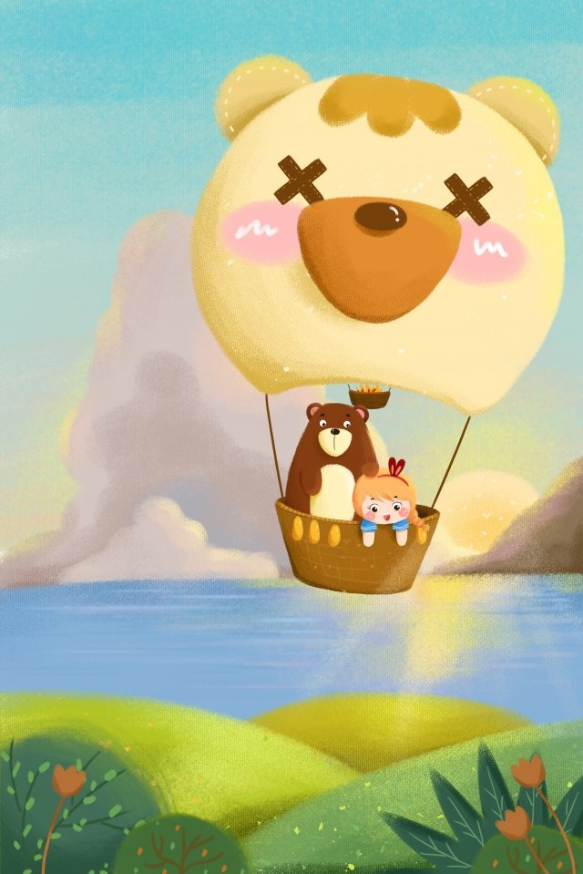 gentle girl bear hot air balloon cloud llustration image