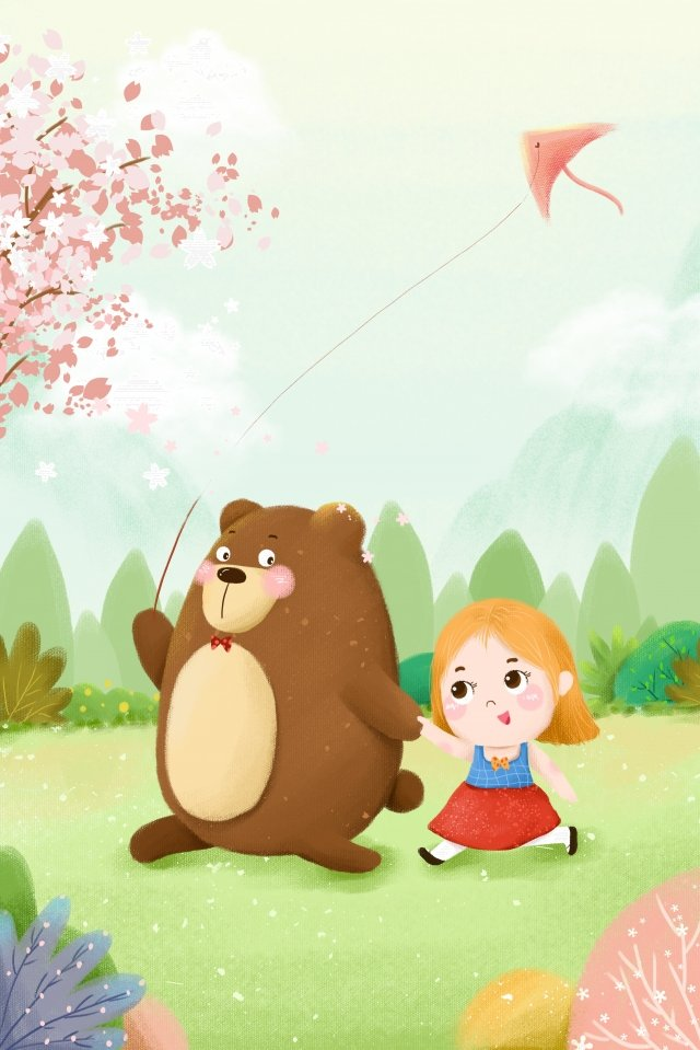 gentle girl bear kite cherry blossoms, Kite, Green, Cartoon illustration image