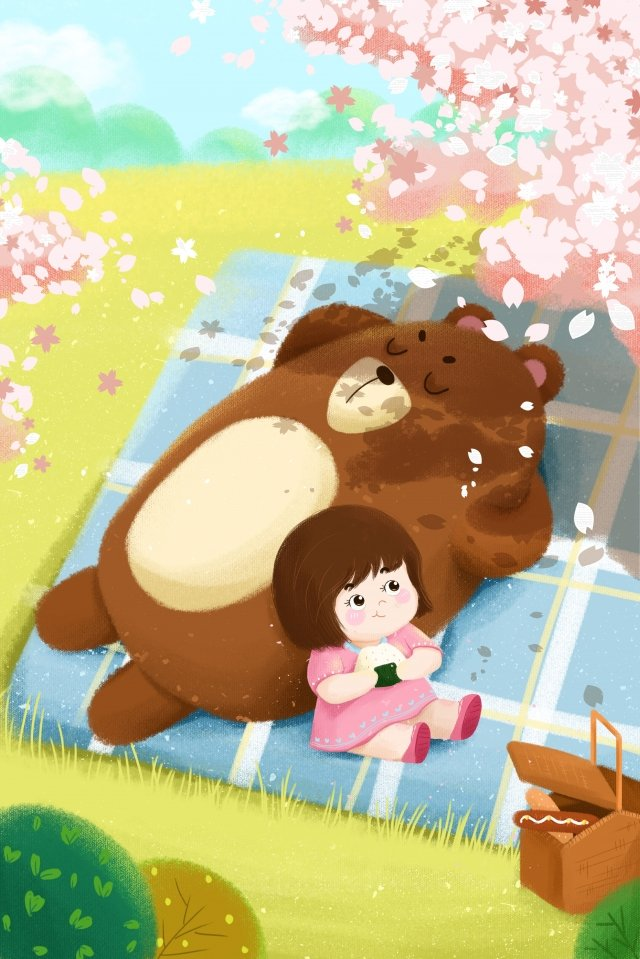 gentle girl bear spring tour cherry blossoms, Tour, Green, Cartoon illustration image