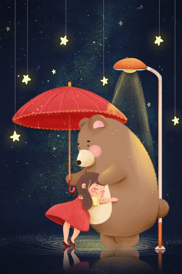 gentle girl bear umbrella starry sky, Hug, Blue, Cartoon illustration image