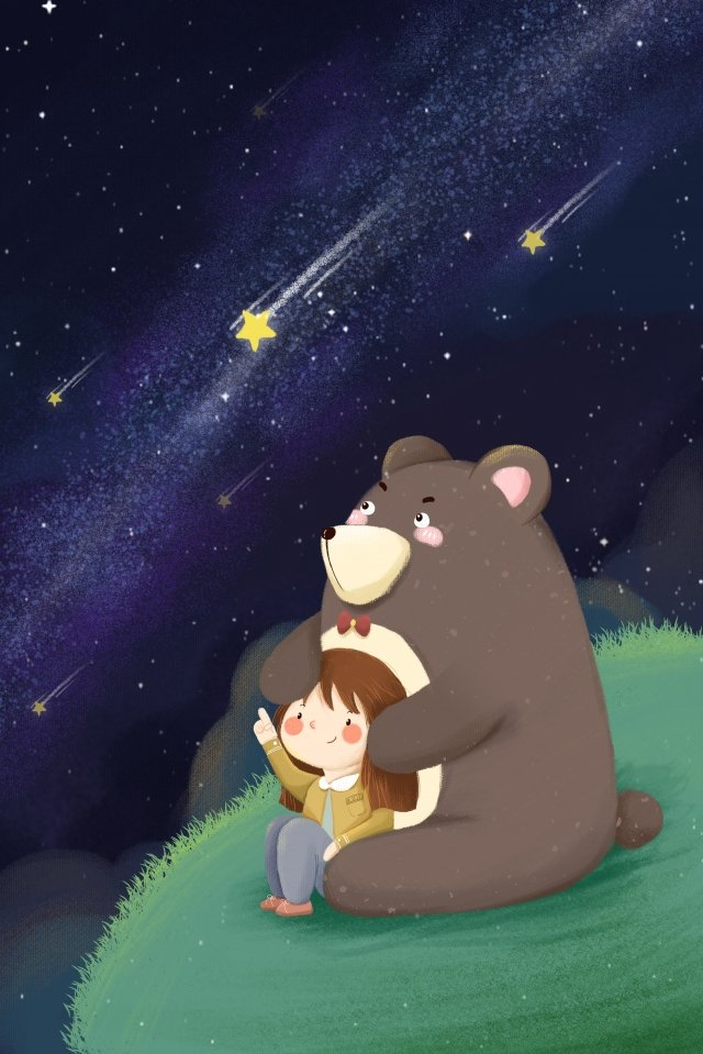 gentle girl bear watching the stars blue, Grassland, Blue, Cartoon illustration image
