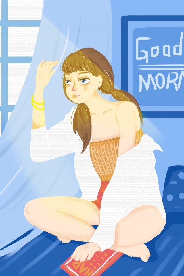 優しい女の子おはようご挨拶日光新鮮 イラストレーション画像