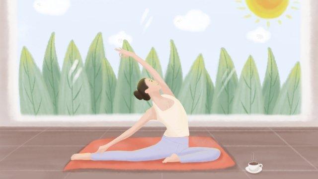 아침 햇빛에 요가 연습을하는 부드러운 소녀 삽화 소재
