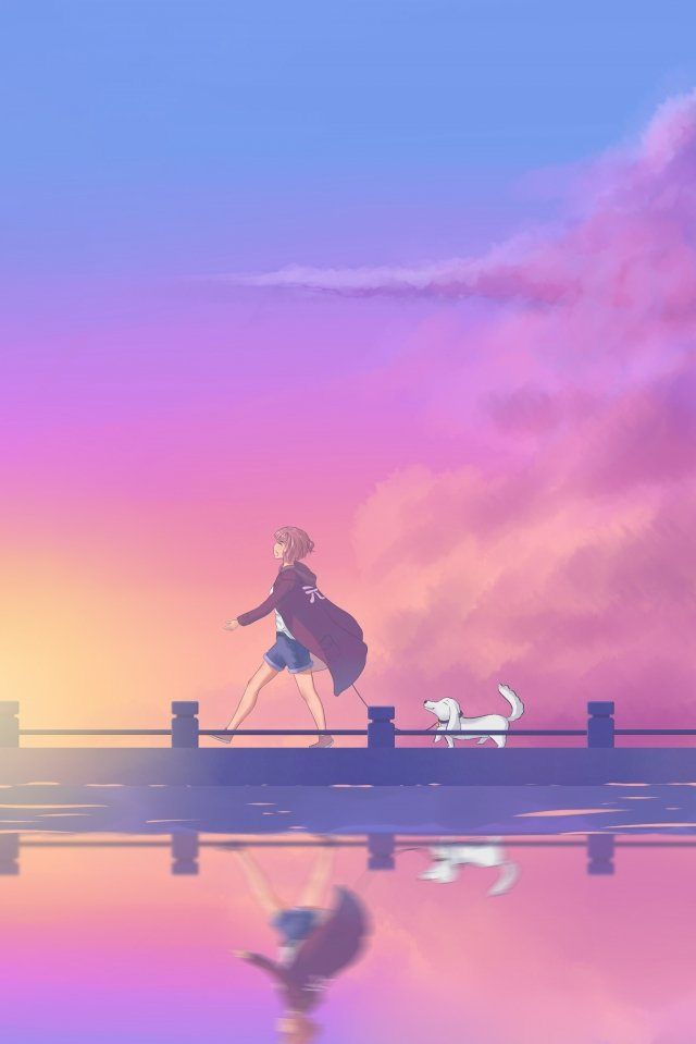 gentle girl walking the dog evening yunxia, Fresh And Warm, Color, Air illustration image