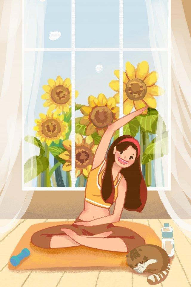 穏やかな女の子ヨガフィットネス早朝 イラストレーション画像